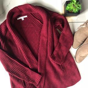 Max Studio Burgundy Knit Cardigan